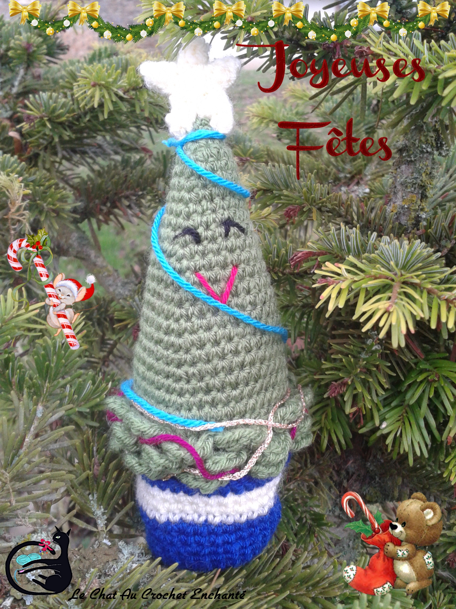 Sapin De Noël Le Chat Au Crochet Enchanté