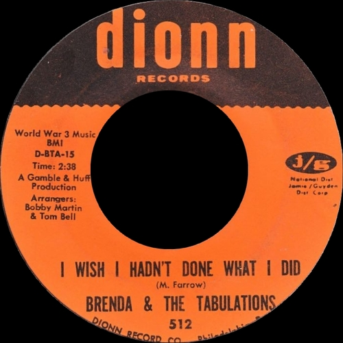 """Brenda & The Tabulations : Album """" Dry Your Eyes """" Dionn Records LPS 2000 [ US ]"""