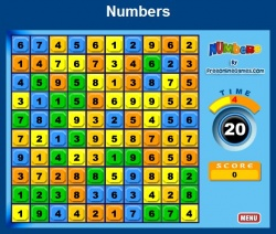 Jeu maths numbers additions