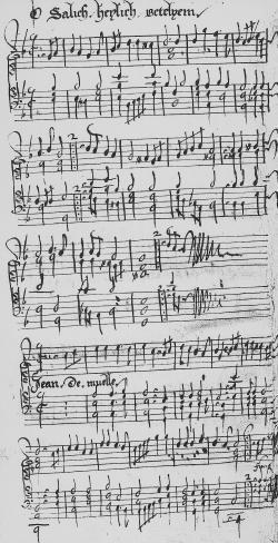 page du ''1ier registre de musique du carillon du beffroi'' de Gand, 17e s.