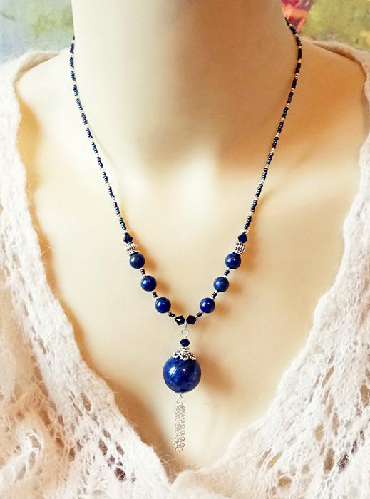 Collier Pendentif pierre de Lapis Lazuli et cristal de Swarovski / Argent 925