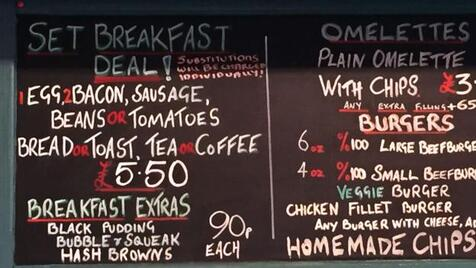 The Regency Cafe breakfast menu (Credit: Credit: David Farley)