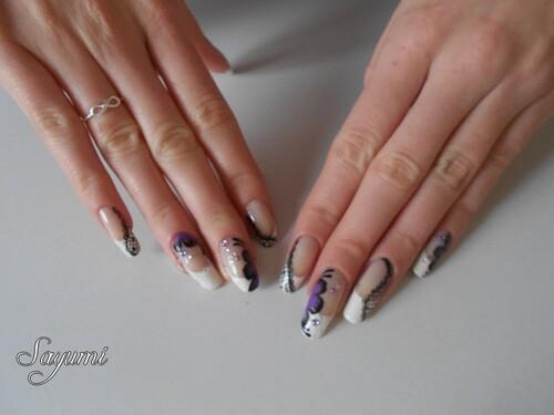 Nail Art One Stroke inspiration japonaise et dentelle
