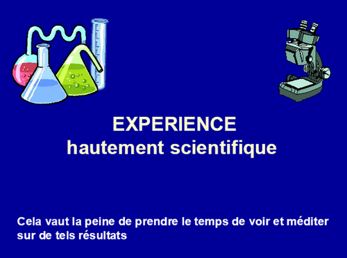 EXPERIENCE SCIENTIFIQUE