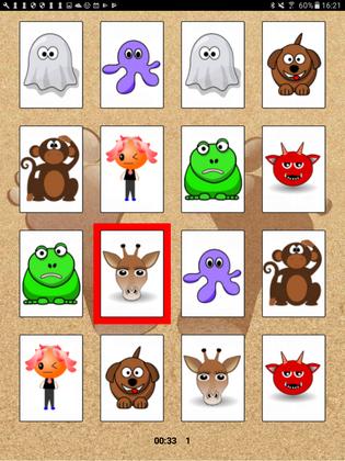 Jeux de mémory (4 à 16 cartes - 16 à 100 cartes) sous Android