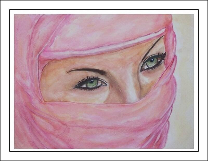 Jeune femme voilée à l'aquarelle