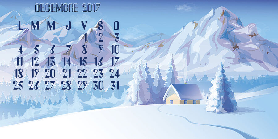 Calendrier Fond d'ecran Decembre
