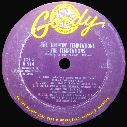"The Temptations : Album "" The Temptin' Temptations "" Gordy Records GS 914 [ US ]"