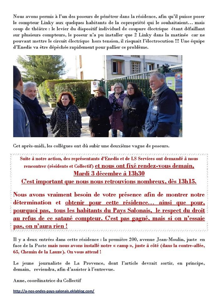Salon de provence : la résistance à la résidence de la Lauze continue! Rendez-vous sur place le 3 décembre pour rencontrer Enedis et LS Services