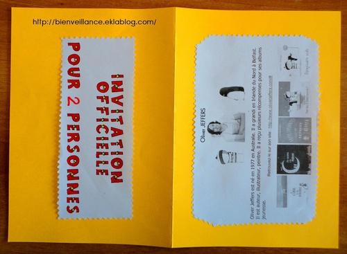 Le carton d'invitation pour les parents.