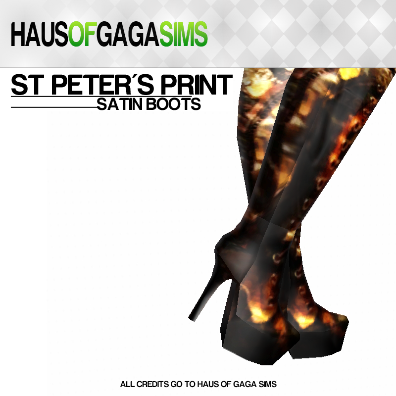 ST PETER'S CHURCH PRINT SATIN BOOTS