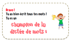 Carte champion(ne) de dictée de mots