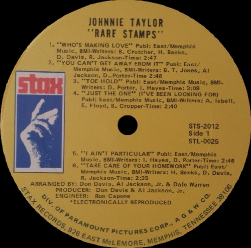 "Johnnie Taylor : Album "" Rare Stamps "" Stax Records STS 2012 [ US ]"