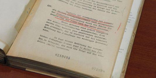 Extrait des actes de la conférence de Wannsee organisant la solution finale.