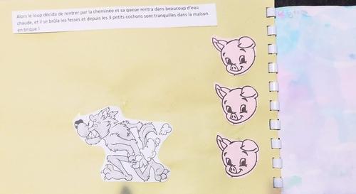 Notre album à compter les 3 petits cochons.