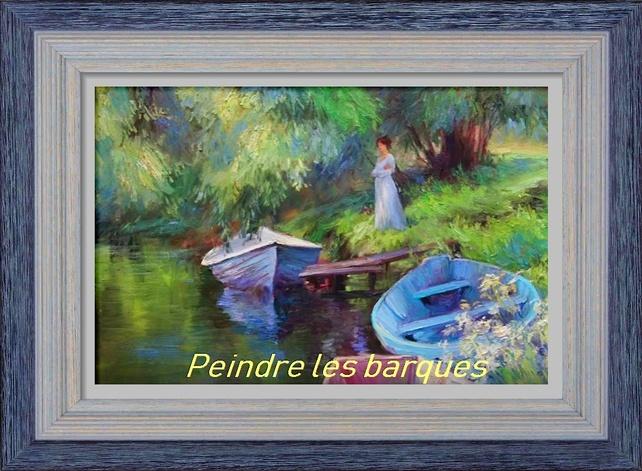 Dessin et peinture - vidéo 2929 - Peindre les barques et leurs reflets sur l'étang - huile ou acrylique.