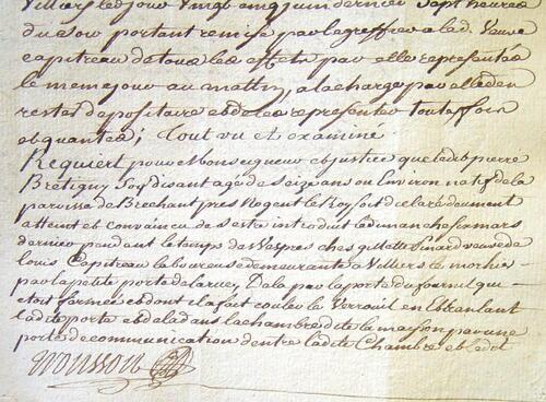 Procès de Pierre Brétigny, accusé de vol à Villiers-le-Morhier, en 1763
