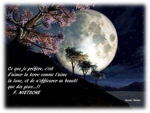 Ce que je préfère, c'est d'aimer la terre comme l'aime la lune, et de n'effleurer sa beauté que des yeux...!!        F. NIETSCHE