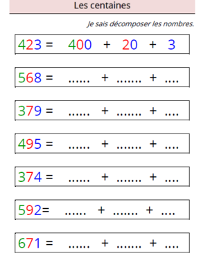 Décomposer les nombres  Adaptation pour dys