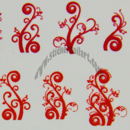 Water decal arabesque vigne rouge rose