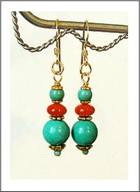 Boucles d'Oreilles Turquoise / Corail - Plaqué Or Gold filled
