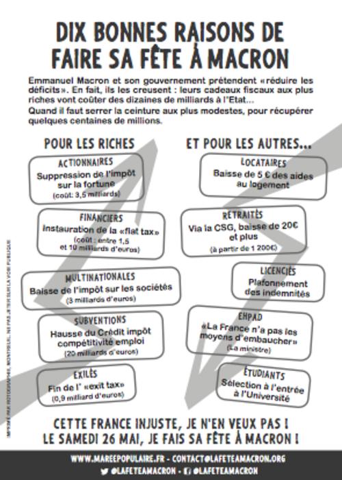 """L'Appel du Collectif """"Fête à Macron"""" pour la marée populaire le 26...."""