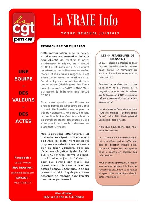 Mensuel CGT Pimkie: La VRAIE Info juin 2019
