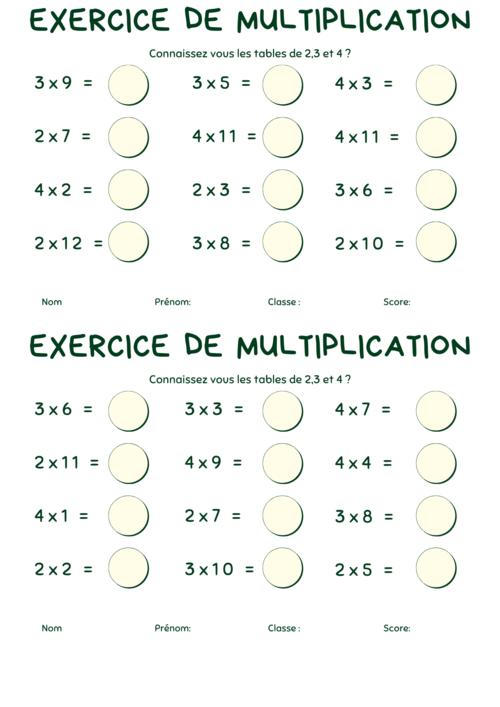 Exercices sur les tables