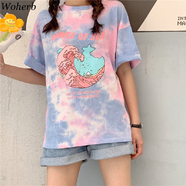 Woherb 2020 Harajuku Tie Dye T Shirt Casual Summer Tops Women ...