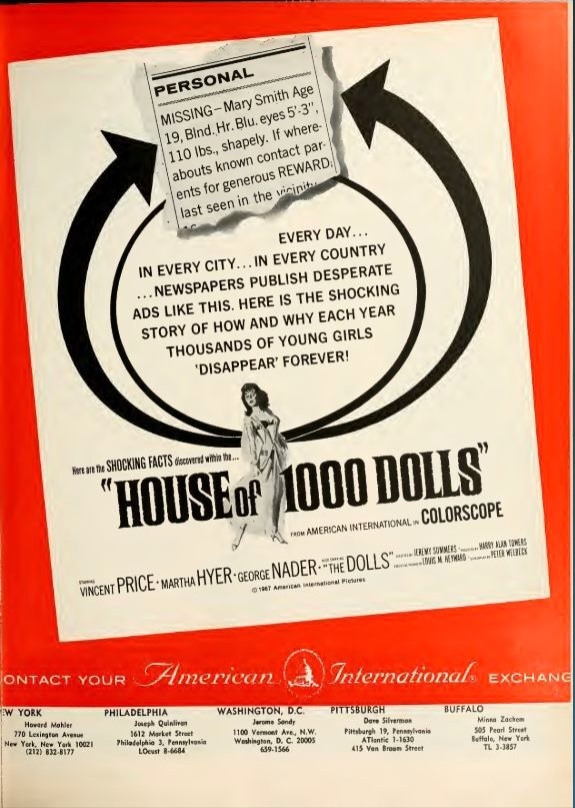 HOUSE OF 1000 DOLLS BOX OFFICE USA 1967