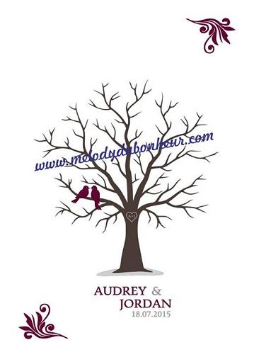 Poster arbre à empreintes souvenir mariage
