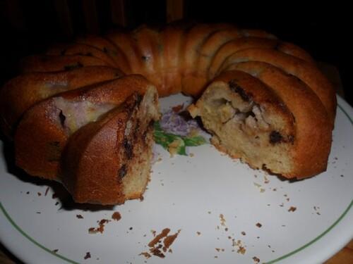 *** Gâteau au mascarpone, pépites de chocolat et bananes ***