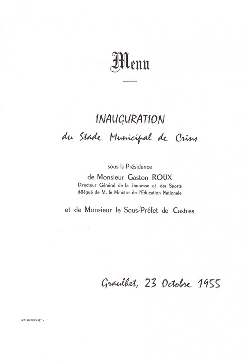LE STADE DE CRINS : Inauguration et documents rares