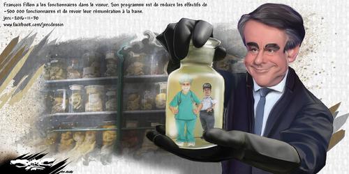 dessin de JERC mercredi 30 novembre 2016 caricature François Fillon Essayer d'être malade avant le mois de mai !!!! www.facebook.com/jercdessin