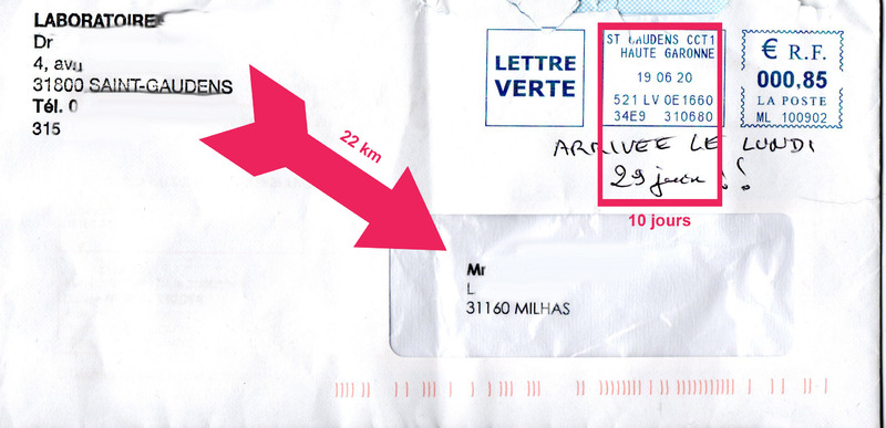 La rapidité de La Lettre Verte de La Poste : 10 jours pour faire 22 km ! Juste la Garonne à traverser ... avec un pont