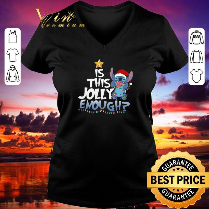 Pretty Stitch Santa is this Jolly enough Christmas lights shirt