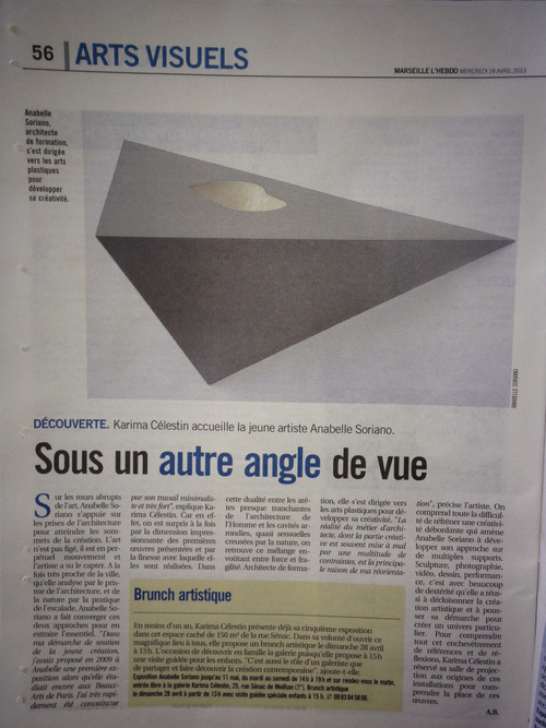 arrondir les angles, article presse marseille, exposition, anabelle soriano, angles, architecture, sculpture, photo, dessin