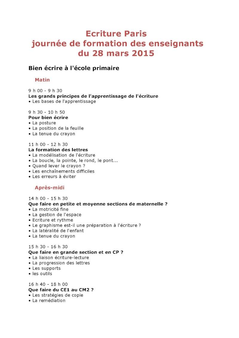 Formation enseignants au geste d'écriture à Paris