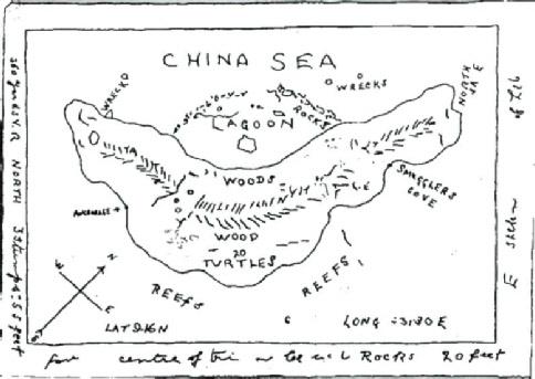 Carte au trésor de Kidd,  N°4 découverte par Hubert Palmer dans le compartiment secret d'un coffre ayant appartenu à la femme de Kidd, dans les années 30. (Albert Fagioli)