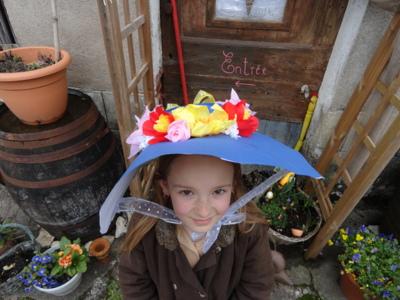 Blog de melimelodesptitsblanpain : Méli Mélo des p'tits Blanpain!, Bricolage: capeline ou chapeau de printemps en papier! ;o)