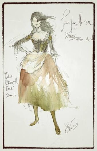 OUAT concept art for Emma's bar wench dress from the season three finale by Eduardo Castro.: