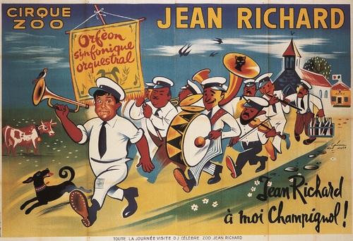 affiche du cirque zoo Jean Richard ,  1957 , l'orphéon de Champignol