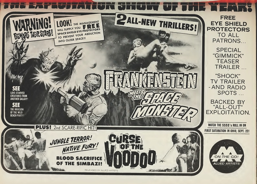 FRANKENSTEIN MEETS THE SPACE MONSTER BOX OFFICE USA 1965