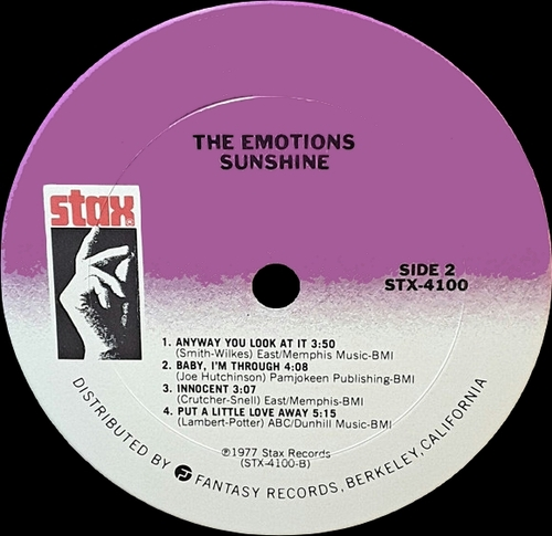 "The Emotions : Album "" Sunshine "" Stax Records STX-4100 [ US ]"
