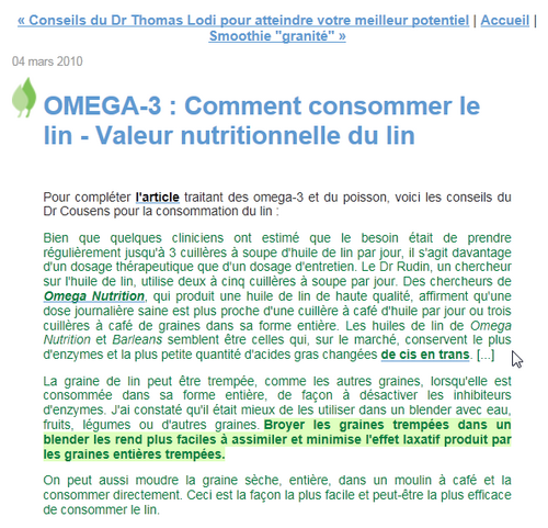 OMEGA-3 : Comment consommer le lin - Valeur nutritionnelle du lin