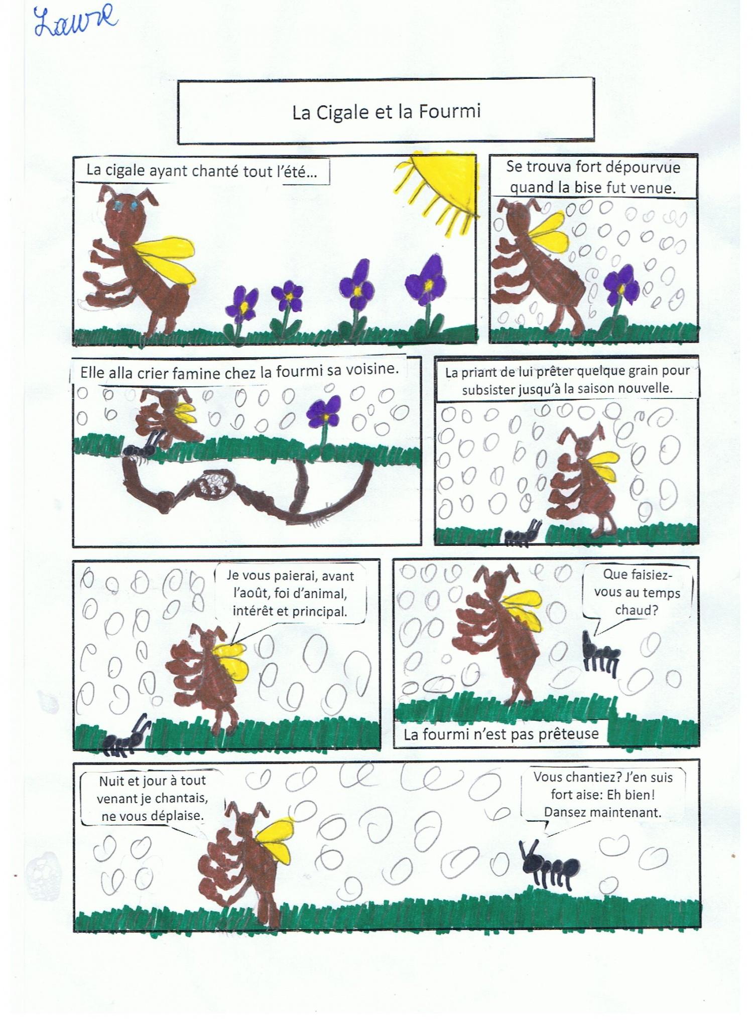 Exceptionnel La cigale et la fourmi en bande dessinée - Ecole Notre Dame Vervins BT62