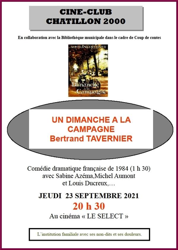 """""""Un dimanche à la campagne"""" , film de Bertrand Tavernier au cinéma le Select"""