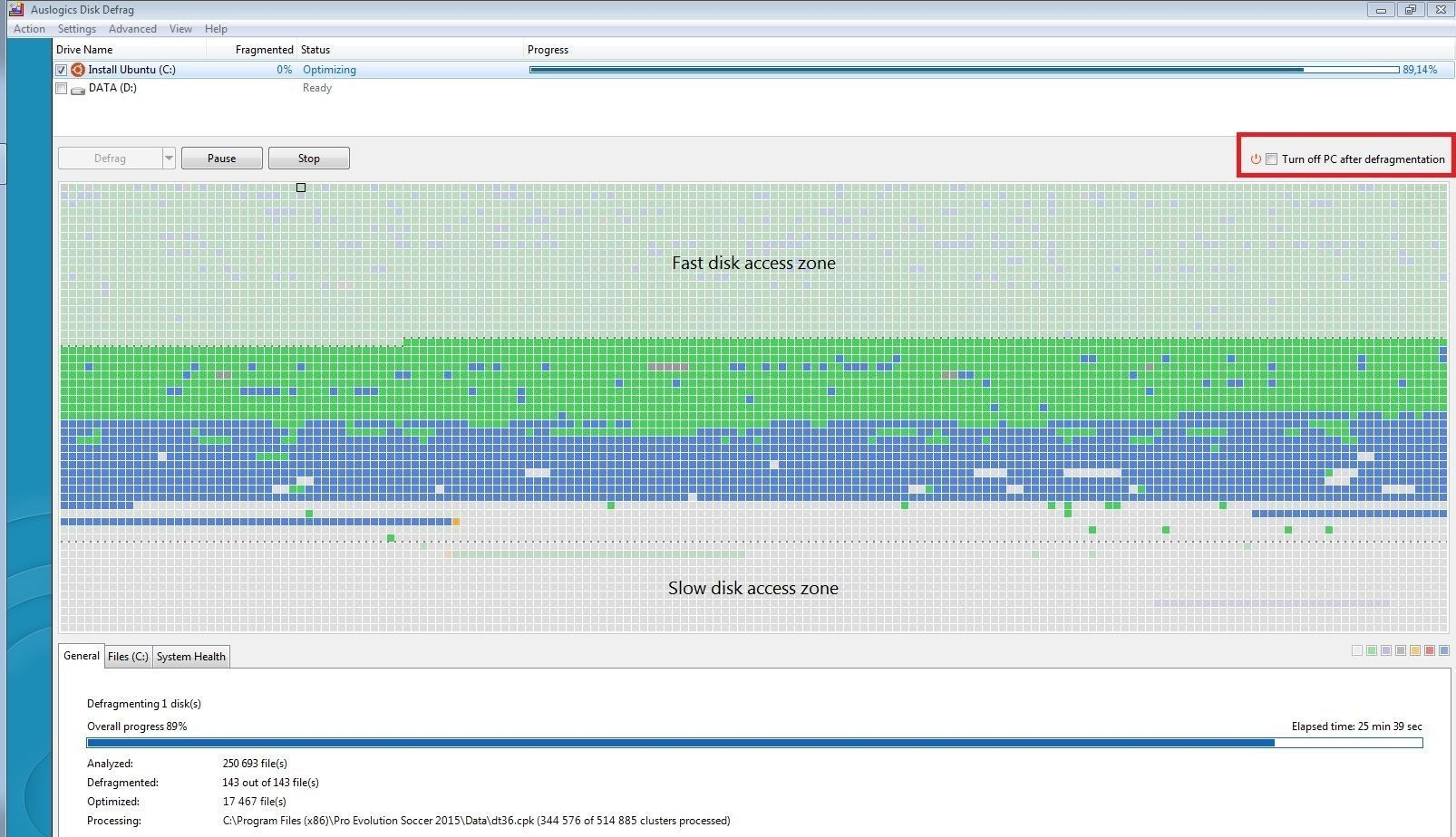 defrag fast slow disk map optimize 4 fin
