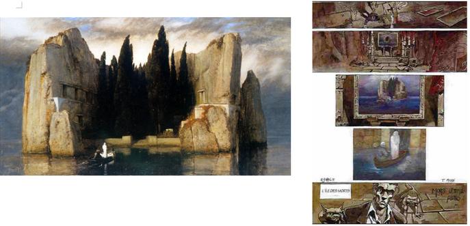 L'Île des morts : Arnold Böcklin, version de 1883 ; planche du tome 1 de Sorel de Sorel
