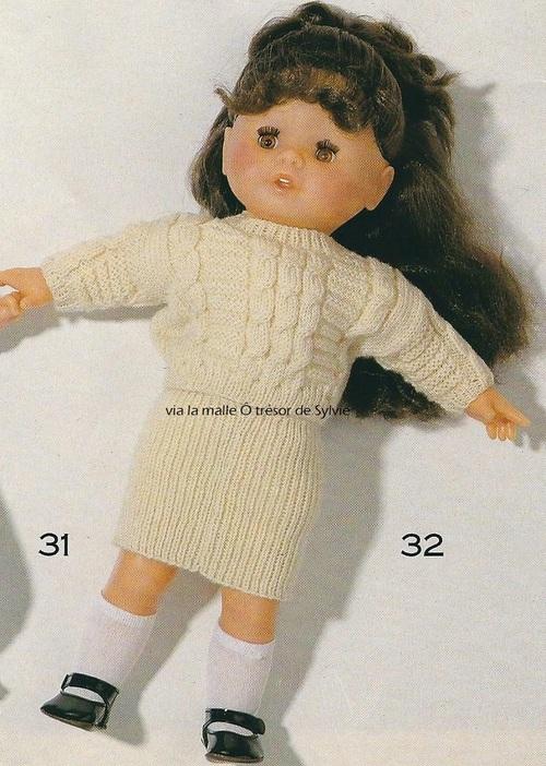 Pull et jupe poupée 38-40cm